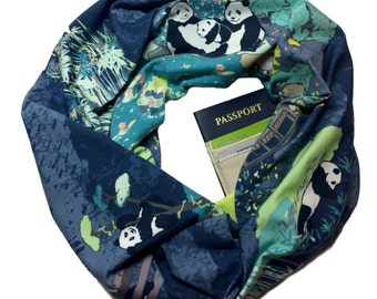 Pandagarden | Folklore Knit Infinity Scarf With Hidden Pocket Panda Print