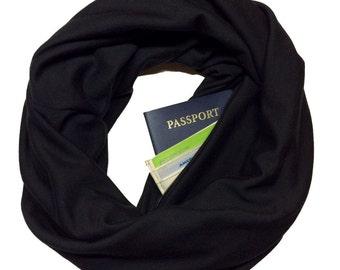 Back in Black   Hidden Pocket Scarf   Infinity Scarf Passport Wallet Travel Scarf Black Money Belt Holder Gift Travel Secret Pocket Zipper