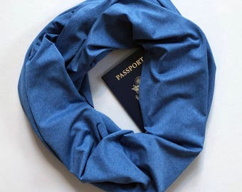 Ice Blue EuroPro   Hidden Pocket Scarf   Infinity Scarf Passport Wallet Travel Scarf Blue Money Belt Holder Travel Gift Secret Zipper Jersey