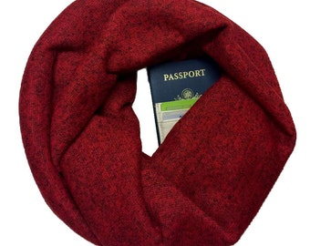 Bonfire | Heathered Red Sweater Knit Infinity Scarf With Hidden Pocket