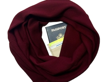 Merlot | Hidden Pocket Scarf | Infinity Scarf Passport Wallet Holder Travel Money Belt Wine Red Burgundy Travel Gift Secret Pocket Zipper