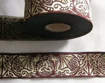 Trim in dark red with golden Dragon, Jacquard Lace, Woven Trim for Medieval and Renaissance, French Hood, width 33mm