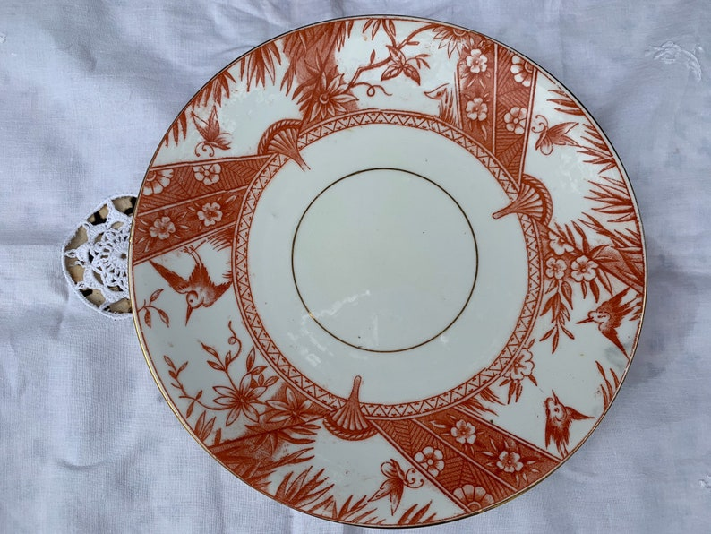 rare pattern bird english china 1800s rust colour flowers butterfly Antique orange transferware 9 inch plate