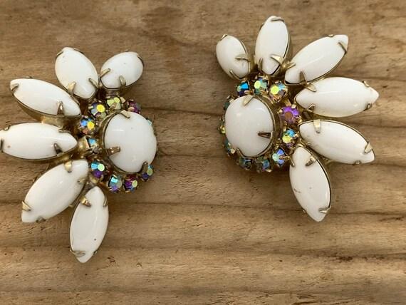 Plastic Earrings Clip On Earrings Statement Jewlery Big Large Earrings Vintage Jewelry 1970/'s Vintage Costume Jewelry Cream Black