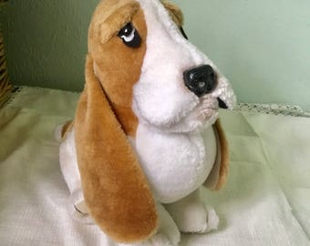 "Hush Puppies Dog toy large plush, Wolverine 10"" high, Basset hound, collectible toy"