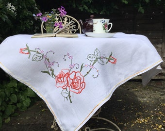 Vintage embroidered white tablecloth, pink roses, lilac flowers