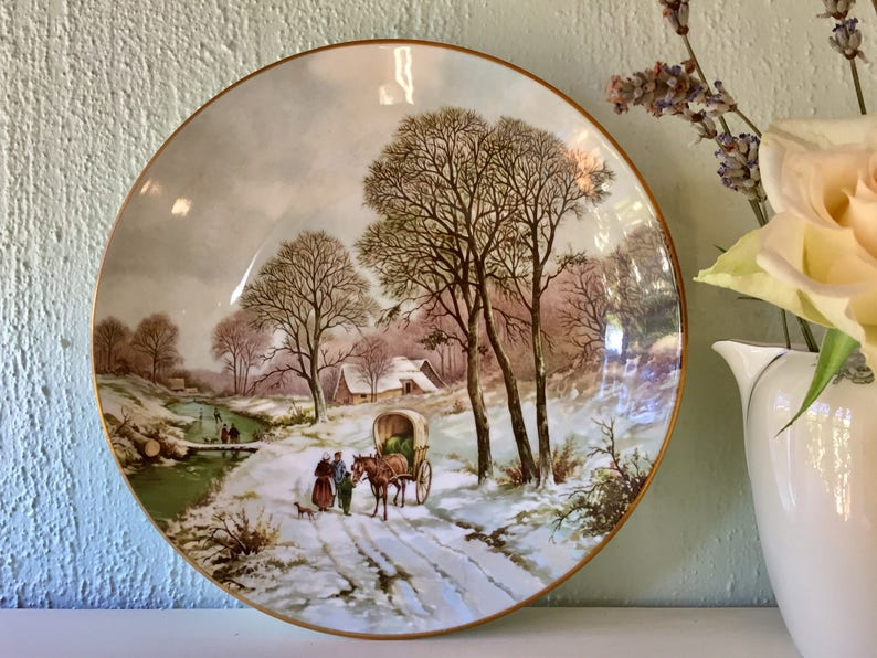 With Winter Comes Inevitable Nostalgia >> Coalport Collectible Plate Merry Christmas Winter Landscapes Etsy