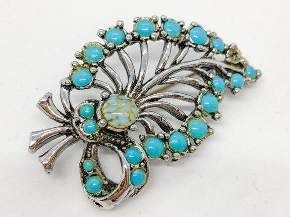 Sterling Silver Leaf Brooch Silver Brooch Pin. Natural Turquoise Heart Brooch