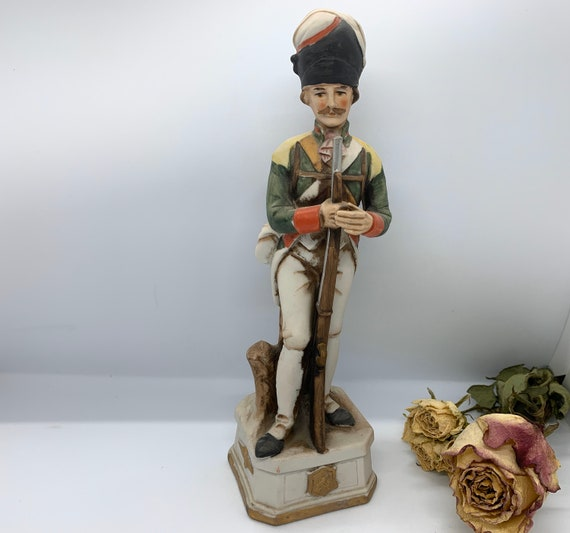 hand painted ornament of a rifleman or infantry man Vintage military 18th century soldier figurine