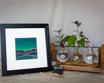 Nightfall - Handprinted Linocut