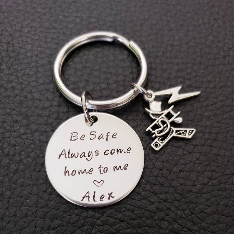 Lineman Be Safe Key Chain with Lineman Charm Lineworker Be Safe Gift Always Come Home to Me
