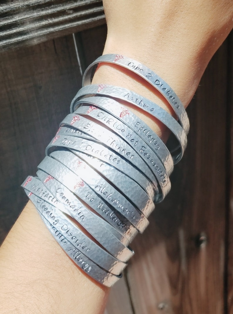 Personalized Inside Stamping Available Type 2 Diabetes Handmade Medical Alert ID Bracelet for Women Adjustable Medical Bracelets Cuff