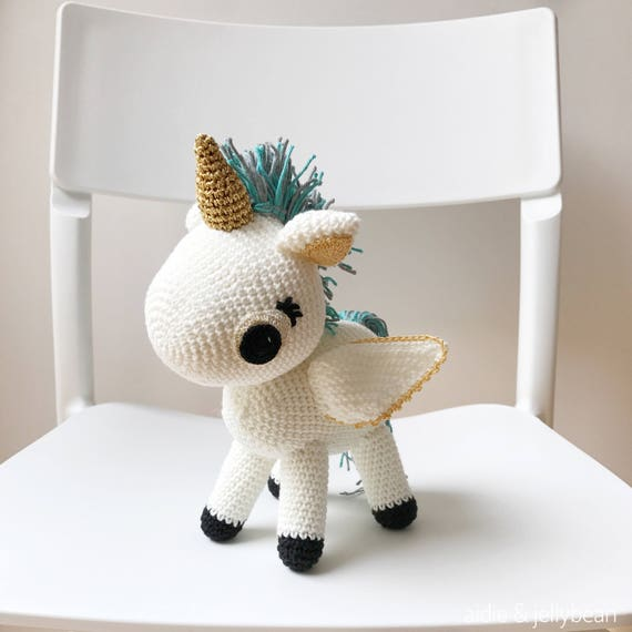 Regenbogen Einhorn Blaues Pony Geschenk Häkeln Amigurumi Kleines