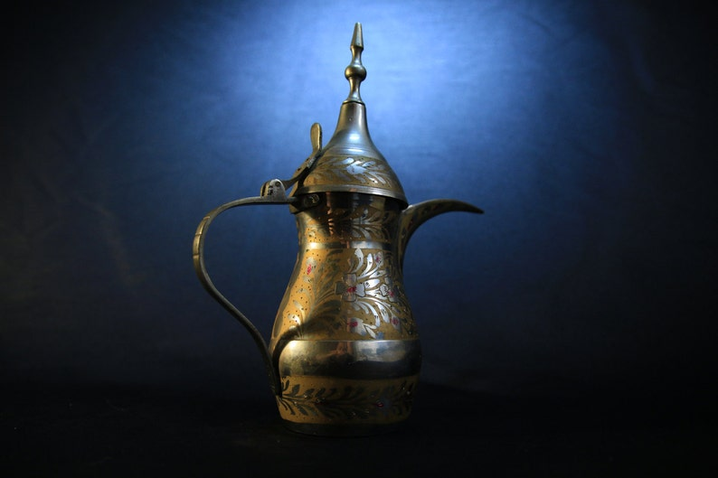 Vintage Hand Painted and Etched Middle Eastern Coffee Pot