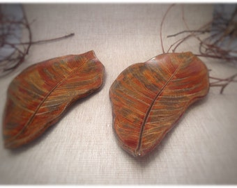 Pair of autumn leaves - hand made pottery