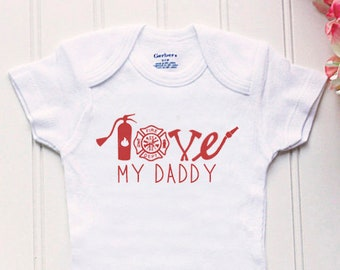Love My Firefighter Daddy Onesie® - Daddy Firefighter Onsie® d57e9296a