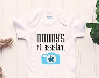 Photographer Mom Onesie® - assistant, baby BOY Onesie®, newborn photography, newborn photographer, camera Onesie®, photography Onesie®