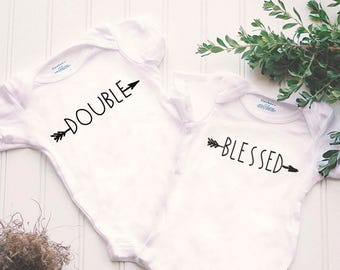 Double Blessed Twin Onesies®® - twin outfits, twin baptism Onesie®, boho twin outfits, teligious twin shirts, mommy's blessings, arrow shirt