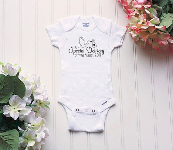 Due Date Personalized Onesie \u00ae Custom Special Delivery Newborn Shirt,Short or Long Sleeves Reveal Baby Announcement Pizza Foodie Gift