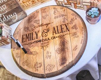 CUSTOM Reclaimed Bourbon Barrel Head Wedding Guestbook