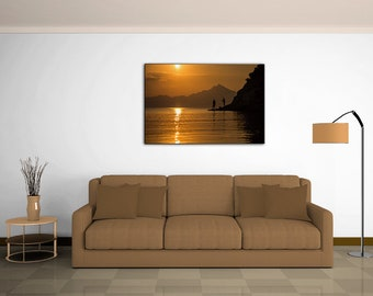 Wall art, Photography, Fishermen, Sunrise, Sunset