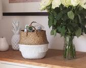 Dipped white belly basket tassel trim Seagrass panier boule Planter basket Scandi style Home decor Boho decor Nordic style.