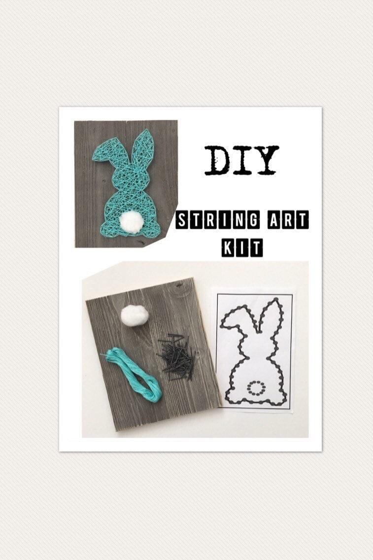 Diy String Art Kit Diy Craft Kit Bunny Sign Kids Craft Diy