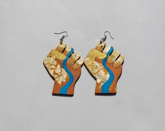 Blue Gold River Earrings (Real Gold Leaf)