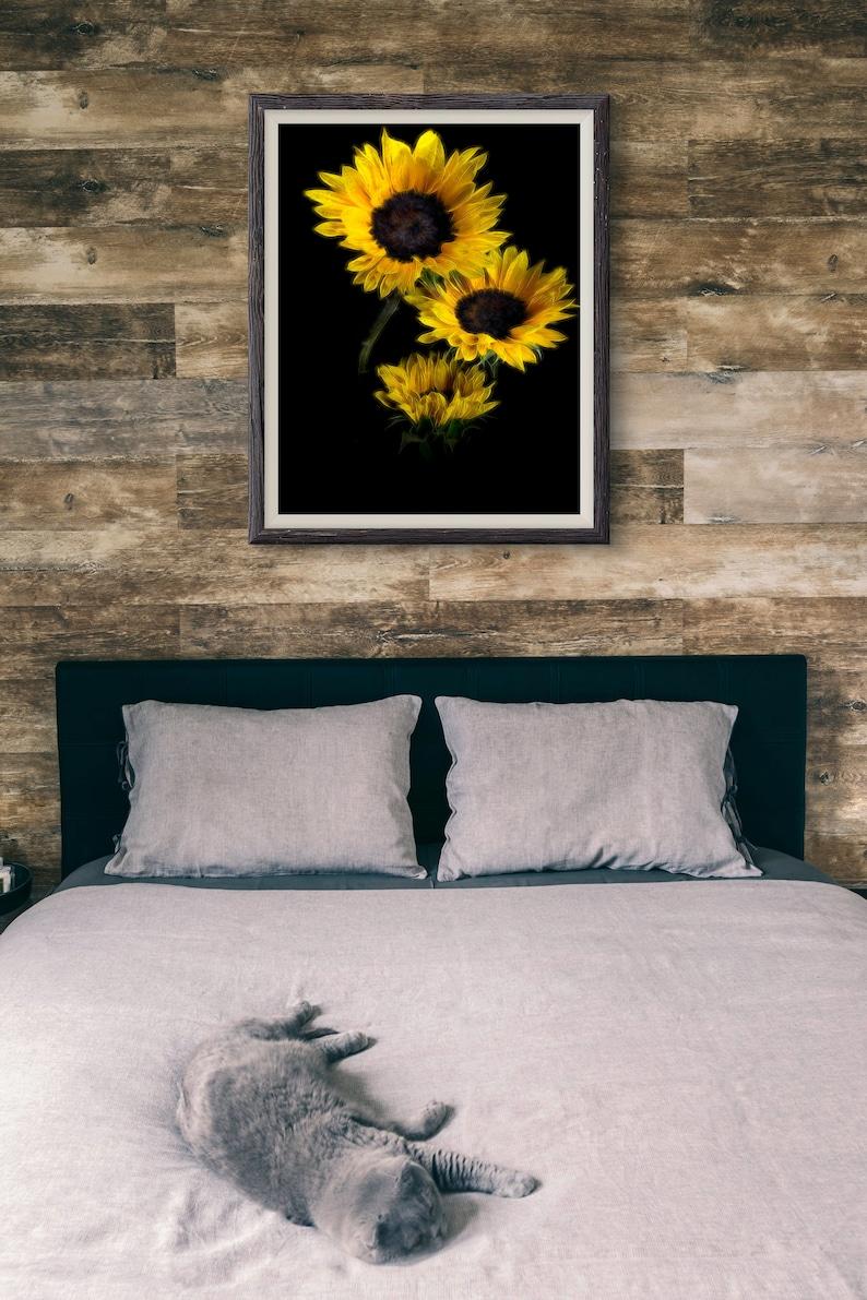 vertical print,wall decor,home decor bedroom wall art Yellow Sunflower photograph,Canvas Art,gift for her,art print