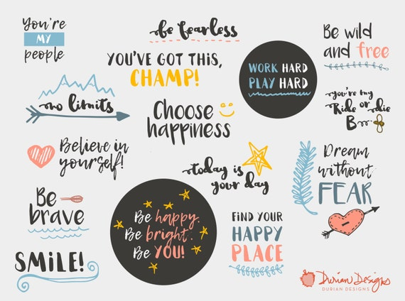 inspirational quotes clipart commercial use inspirational etsy