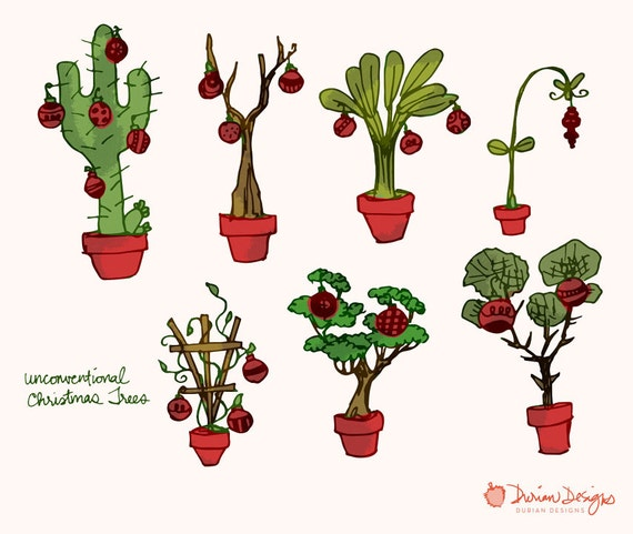 Christmas Cactus Clipart.Tropical Christmas Trees Clipart Commercial Use Cactus Banana Tree Unconventional Christmas Tree Clip Art Instant Download