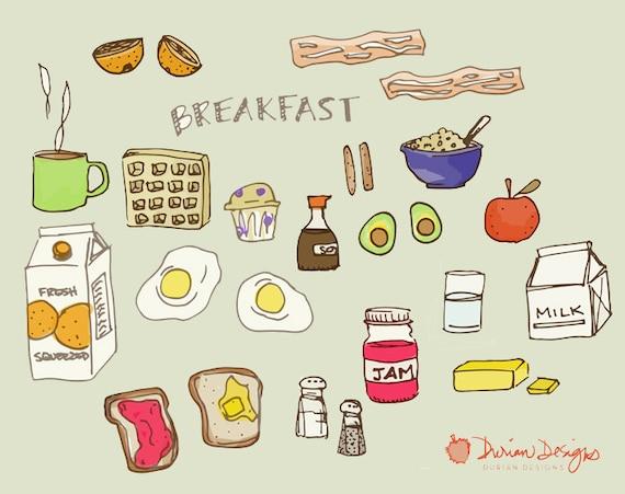 Frühstück Essen ClipArt kommerziellen nutzen Speck Toast ...