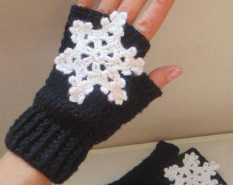Crochet Wrist Warmers Pattern Wrist Gloves Crochet Snowflake Mittens Pattern Snowflake Gloves Mitten Pattern Crochet Fingerles Gloves