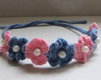 Easy Crochet Headband With Pearl Gift For Baby Crochet Baby Headband Crochet Flower Headband Pattern Newborn headband Crochet pattern