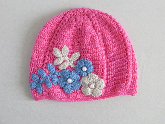 Crochet chapeau bébé fille chapeau rose chapeau dentelle   Etsy ea0ab9f4021