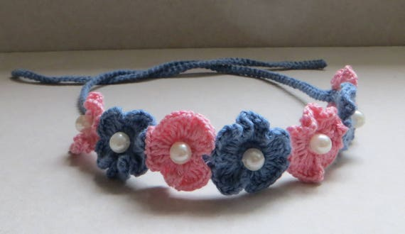 Easy Crochet Headband With Pearl Gift For Baby Crochet Baby  d7e4287377b