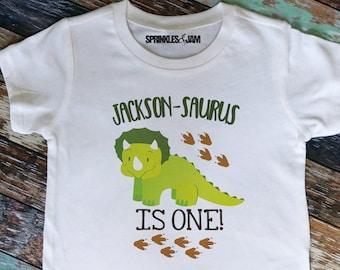 Dinosaur Birthday Shirt Triceratops First 1st Tshirt