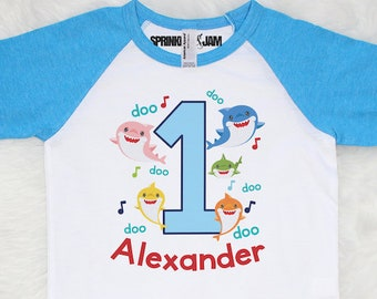 Baby Shark Birthday Shirt Family First Mommy 1st Any Age
