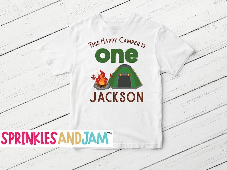 Camping Birthday Shirt Happy Camper Party Boys Camp Out