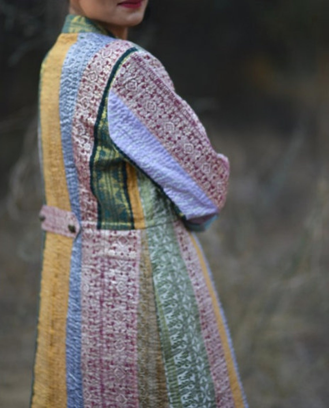 Indian Vintage Kantha Quilted Handcrafted Upcycled Brocade Bohochic, Lightweight Long Women's Jacket - Multicoloured