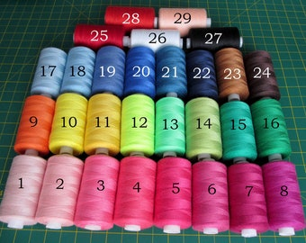 1 roll sewing thread, thickness 50/2, free colour choice