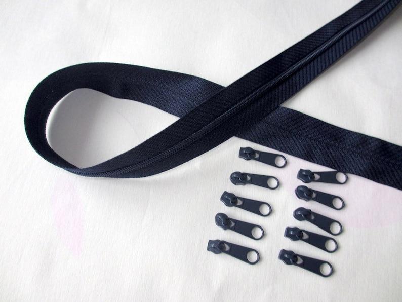 10 zipper 2 m endless zipper 3 mm dark blue