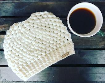 Messy Bun Hat - Crochet Ponytail  Beanie - Adult size