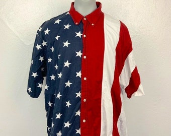 3fbdb0a788 Vintage Redhead 3XL USA Flag Red White and Blue striped button up shirt  American  flag shirt USA flag button up 90s vintage shirt