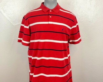 fd61752c Nautica striped rugby red white and blue retro vintage classic womens mens  XXL XL 80s 90s Shirt