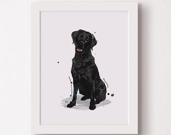 Black Labrador Retriever Lab Riding Whale Vintage Collage Print Tea Stained Paper dog art dog dad  for her pet   WFH office art
