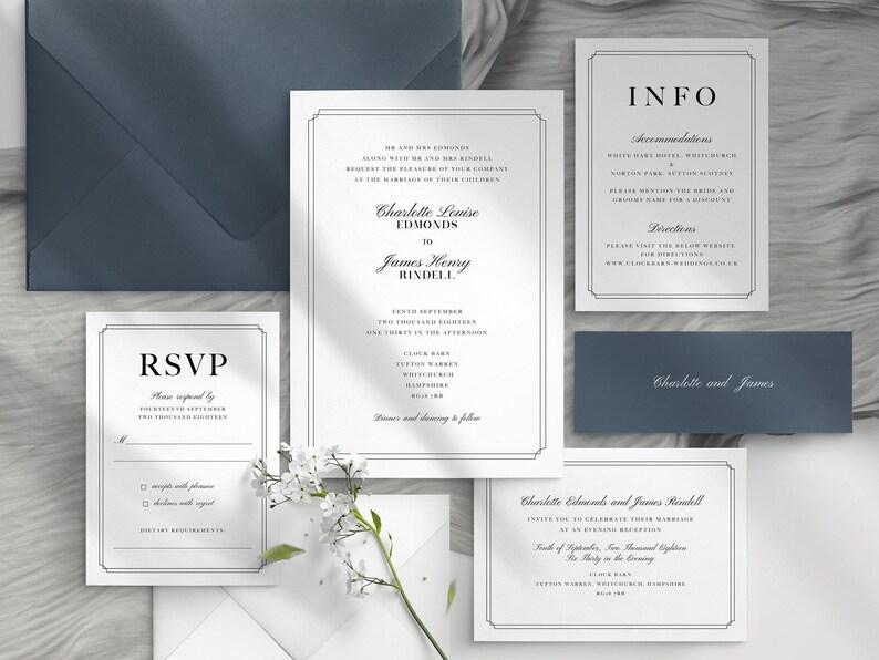 Charlotte Minimalist Wedding Invite Wedding Invitation Template Rustic Wedding Invitation Template Download Invitation with Photo