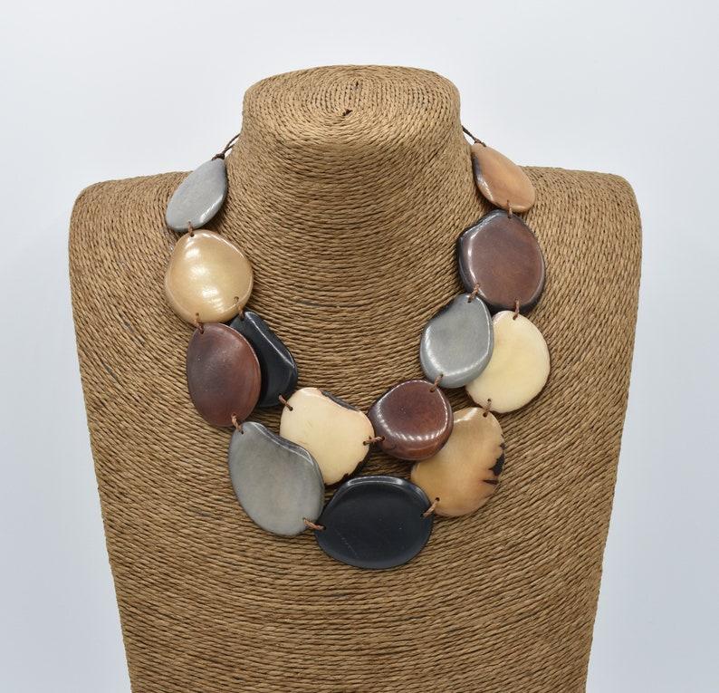Tagua Nut Necklace Set  Black Gray Cream Brown Tan Tagua Necklace  Gray Tagua Earrings  Tagua Nut Jewelry  Organic Jewelry