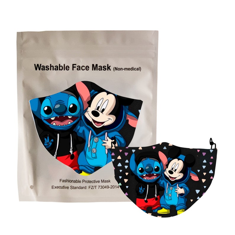 FaceMasks for kids Mickey Mouse Stitch back to school masks face covering with pocket filter adjustable ear loops face mask fast shipping