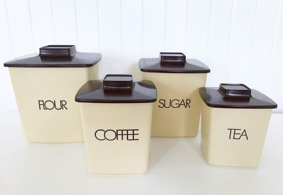 Vintage Kitchen Canisters Set of 4; Retro Containers for Flour, Tea,  Coffee, Sugar; Vintage Nesting Storage Bins
